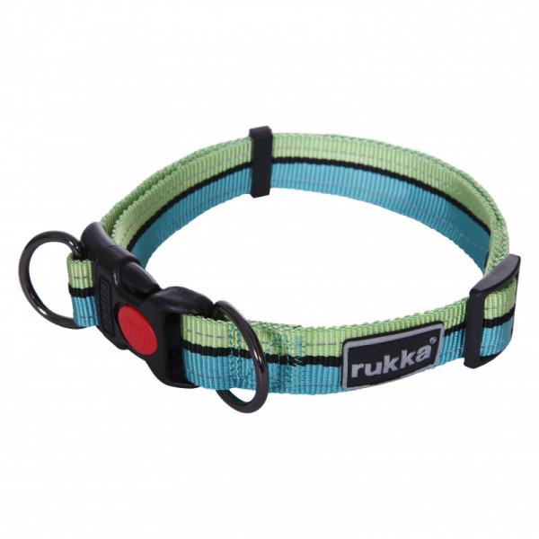 Rukka Pets Bliss Polar Stripe Halsband, Turquoise/ Lime