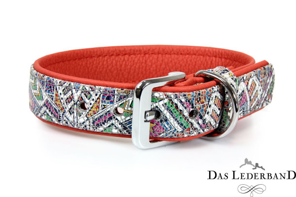 Das Lederband halsband Casablanca, Mosaik / Rubyred