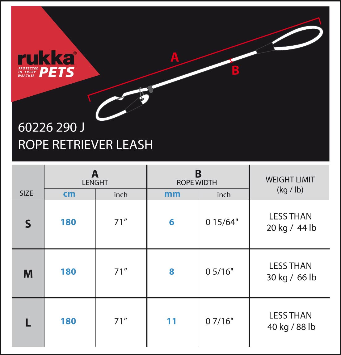 ROPE-RETRIEVER-LEASH-Size-Chart