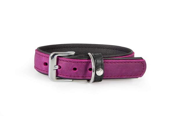 Das Lederband halsband Vancouver violet/ zwart