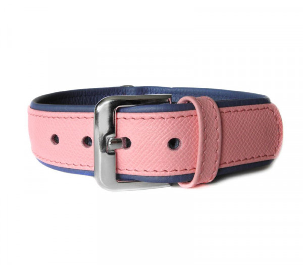 Das Lederband Milano Halsband (D-Ring achter), Candy /Saphire