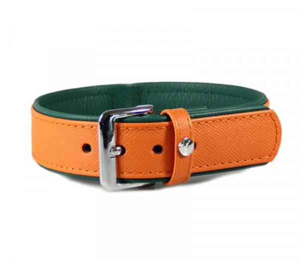 Das Lederband Milano Halsband (D-Ring achter), Orange / Forest