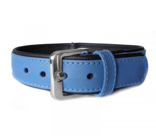 Das Lederband Milano Halsband (D-Ring achter), Azure / Oxford Blue
