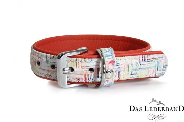 Das Lederband halsband Casablanca, Krijt / Rubyred