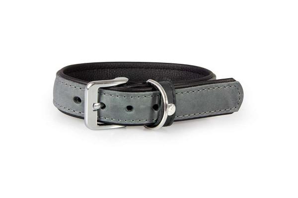Das Lederband halsband Vancouver granite/ zwart