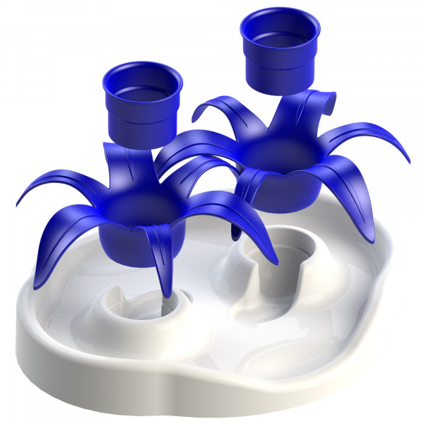 Aikiou Thin Cat Interactive Bowl Flower, wit/blauw