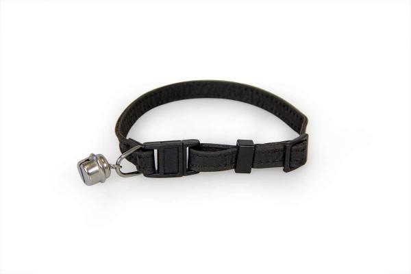 Das Lederband kattenhalsband met clicksluiting zwart