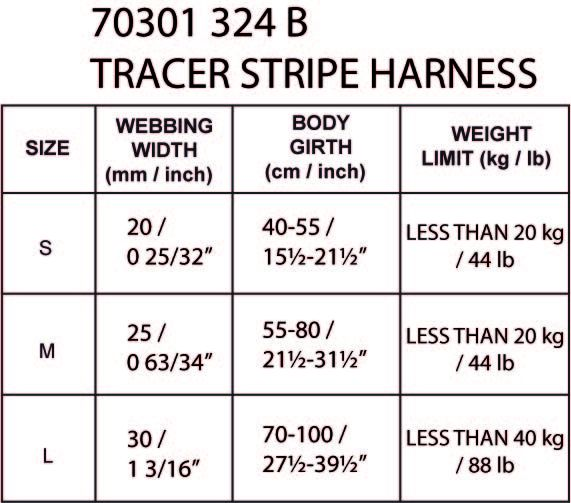 TRACER_STRIPE_HARNESS-maattabel