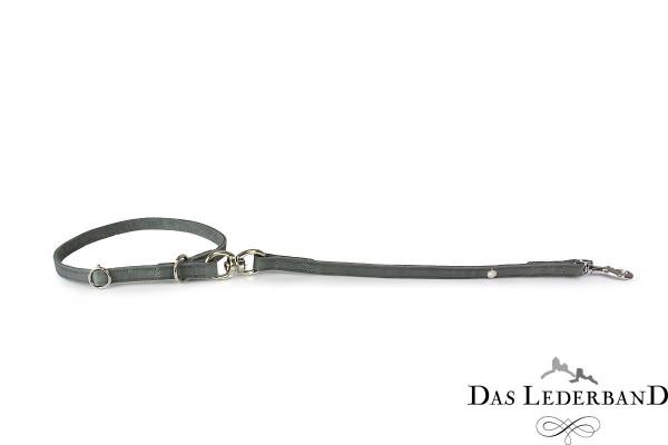 Das Lederband korte riem met halsband Graz, Zilver
