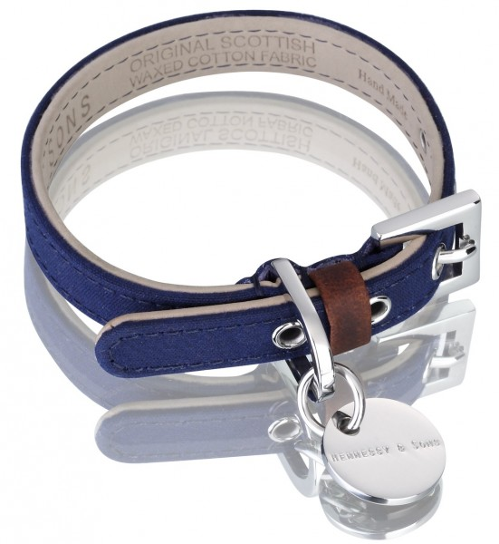 Henessy & Sons Scottish Waxed Cotton halsband, navy